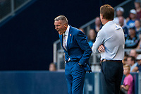 Kansas City, KS - Wednesday August 9, 2017: Peter Vermes during a Lamar Hunt U.S. Open Cup Semifinal match between Sporting Kansas City and the San Jose Earthquakes at Children's Mercy Park.