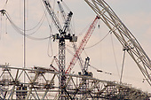 The roof of Wembley Stadium nears completion.