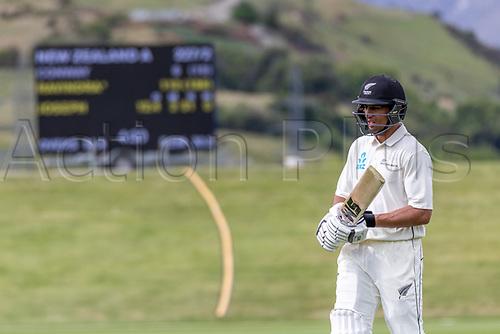 20th November 2020; John Davies Oval, Queenstown, Otago, South Island of New Zealand. NZ A's Rachin Ravindra during New Zealand A versus  West Indies