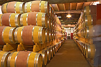 The old cellar for ageing wines in barrel with rows and rows of oak barriques Chateau de Pressac St Etienne de Lisse Saint Emilion Bordeaux Gironde Aquitaine France