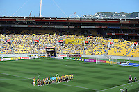 The teams line up before kickoff during the A-League football match between Wellington Phoenix v Central Coast Mariners at Westpac Stadium, Wellington, New Zealand on Sunday, 25 March 2012. Photo: Dave Lintott / lintottphoto.co.nz