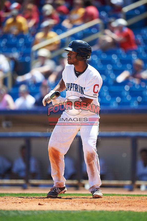 Lake County Captains designated hitter Juan De La Cruz (23) squares to bunt during a game against the South Bend Cubs on July 27, 2016 at Classic Park in Eastlake, Ohio.  Lake County defeated South Bend 5-4.  (Mike Janes/Four Seam Images)