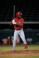 AZL Angels Drevian Williams-Nelson (6) at bat during an Arizona League game against the AZL Cubs 1 on June 24, 2019 at Sloan Park in Mesa, Arizona. AZL Cubs 1 defeated the AZL Angels 12-0. (Zachary Lucy / Four Seam Images)