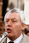 Rev Ian Paisley Northern Ireland No Surrender banners. 1981 The Troubles Belfast Northern Ireland.