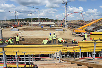 17.07.2015. Saraansk, Russia. The develoment of the future soccer stadium has been set up at its construction site in Saransk, Russia, 17 July 2015. The stadium will serve as one of the venues for the 2018 FIFA World Cup.
