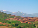 Iran 2004.Paysage avec champs et montagnes.<br /> Iran 2004.Landscape with fields and mountains<br /> ئیران 2004 , دیمه نی شاخ و ده شت له به هاری کوردستان.