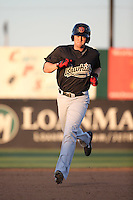 Marty Herum (26) of the Visalia Rawhide runs the bases during a game against the Lancaster JetHawks at The Hanger on July 6, 2016 in Lancaster, California. Lancaster defeated Visalia, 10-7. (Larry Goren/Four Seam Images)