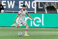 FOXBOROUGH, MA - OCTOBER 7: Jonathan Osorio #21 of Toronto FC passes the ball during a game between Toronto FC and New England Revolution at Gillette Stadium on October 7, 2020 in Foxborough, Massachusetts.