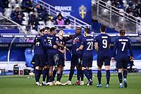 17th November 2020; Stade de France, Paris,  France; UEFA National League international football, France versus Sweden;   PRESNEL KIMPEMBE (FRA) BENJAMIN PAVARD (FRA) and PAUL POGBA (FRA) celebrate their goal