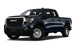 Stock pictures of low aggressive front three quarter view of 2019 GMC Sierra-1500 WT 4 Door Pick-up Low Aggressive