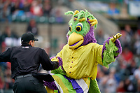 BirdZerk performs with an actor dressed as an umpire during a Rochester Red Wings International League game against the Charlotte Knights on June 16, 2019 at Frontier Field in Rochester, New York.  Rochester defeated Charlotte 3-2 in the second game of a doubleheader.  (Mike Janes/Four Seam Images)