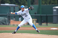 Griffin Canning (55) of the UCLA Bruins pitches against the Arizona Wildcats at Jackie Robinson Stadium on March 19, 2017 in Los Angeles, California. UCLA defeated Arizona, 8-7. (Larry Goren/Four Seam Images)