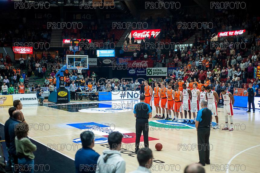 VALENCIA, SPAIN - NOVEMBER 18: Silence minut for Paris during EUROCUP match between Valencia Basket Club and CAI SLUC Nancy at Fonteta Stadium on November 18, 2015 in Valencia, Spain