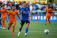 SAN JOSE, CA - JULY 24: Jack Skahan #16 of the San Jose Earthquakes dribbles the ball during a game between San Jose Earthquakes and Houston Dynamo at PayPal Park on July 24, 2021 in San Jose, California.
