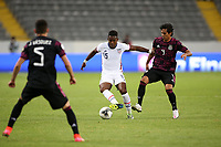 GUADALAJARA, MEXICO - MARCH 24: Andres Perea #15 of the United States is defended by Jose Macias #9 of Mexico during a game between Mexico and USMNT U-23 at Estadio Jalisco on March 24, 2021 in Guadalajara, Mexico.