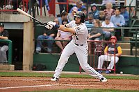 Burlington Bees center fielder Brandon Marsh (6) swings at a pitch against the Dayton Dragons at Community Field on May 3, 2018 in Burlington, Iowa.  (Dennis Hubbard/Four Seam Images)