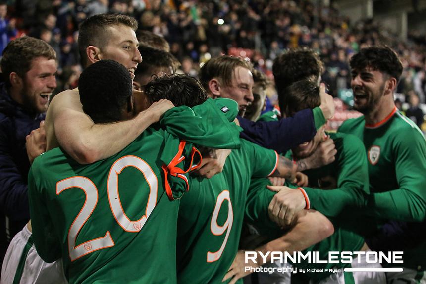 Republic of Ireland's players celebrate Shaun Donnellan goal during the 2019 UEFA Under 21 European Qualifying Round between the Republic of Ireland and Azerbaijan on Tuesday 27th March 2018 at Tallaght Stadium, Dublin. Photo By Michael P Ryan