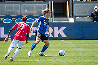 SAN JOSE, CA - APRIL 24: Florian Jungwirth #23 of the San Jose Earthquakes controls the ball during a game between FC Dallas and San Jose Earthquakes at PayPal Park on April 24, 2021 in San Jose, California.