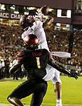 Virginia Tech wide receiver Damon Hazelton (14) catches a touchdown pass as Florida State defensive back Levonta Taylor (1) covers during an NCAA college football game in Tallahassee, Fla., Monday, Sept. 3, 2018. (AP Photo/Mark Wallheiser)