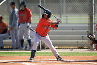 GCL Astros Sean Mendoza (3) at bat during a Gulf Coast League game against the GCL Cardinals on August 11, 2019 at Roger Dean Stadium Complex in Jupiter, Florida.  GCL Cardinals defeated the GCL Astros 2-1.  (Mike Janes/Four Seam Images)