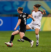 Anna Green, Stephanie Cox. The USWNT defeated New Zealand, 4-0, during the 2008 Beijing Olympics in Shenyang, China.  With the win, the USWNT won group G and advanced to the semifinals.