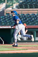AZL Rangers center fielder Ryan Anderson (6) jogs towards first base on his way to a triple during an Arizona League game against the AZL Giants Black at Scottsdale Stadium on August 4, 2018 in Scottsdale, Arizona. The AZL Giants Black defeated the AZL Rangers by a score of 3-2 in the first game of a doubleheader. (Zachary Lucy/Four Seam Images)