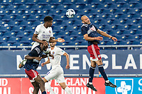 FOXBOROUGH, MA - AUGUST 7: Tiago Mendonca #33 of New England Revolution II heads the ball during a game between Orlando City B and New England Revolution II at Gillette Stadium on August 7, 2020 in Foxborough, Massachusetts.