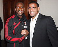 Clarence Seedorf of AC Milan with Barry Rice of DC United at a reception for AC Milan at DAR Constitution Hall in Washington DC on May 24 2010.