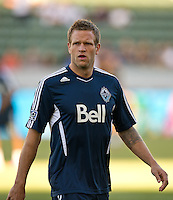 CARSON, CA - June 23, 2012: Vancouver Whitecaps defender Jay DeMerit (6) prior to the LA Galaxy vs Vancouver Whitecaps FC match at the Home Depot Center in Carson, California. Final score LA Galaxy 3, Vancouver Whitecaps FC 0.
