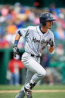 Kane County Cougars right fielder Billy Endris (8) runs to first base during a game against the South Bend Cubs on May 3, 2017 at Four Winds Field in South Bend, Indiana.  South Bend defeated Kane County 6-2.  (Mike Janes/Four Seam Images)