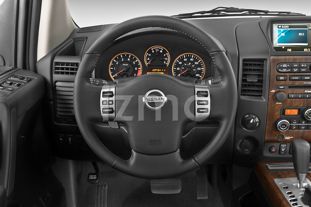 Steering wheel view of a 2008 Nissan Titan