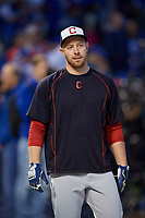 Cleveland Indians Chris Gimenez (38) during practice before Game 3 of the Major League Baseball World Series against the Chicago Cubs on October 28, 2016 at Wrigley Field in Chicago, Illinois.  (Mike Janes/Four Seam Images)