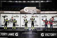 #12: AIM Vasser Sullivan Lexus RC-F GT3, GTD: Frankie Montecalvo, Townsend Bell, #14: AIM Vasser Sullivan Lexus RC-F GT3, GTD: Jack Hawksworth, Aaron Telitz, #86: Meyer Shank Racing w/Curb-Agajanian Acura NSX GT3, GTD: Mario Farnbacher, Matt McMurry, podium