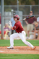 Boston College Eagles shortstop Jake Palomaki (11) fouls a pitch off during a game against the Minnesota Golden Gophers on February 23, 2018 at North Charlotte Regional Park in Port Charlotte, Florida.  Minnesota defeated Boston College 14-1.  (Mike Janes/Four Seam Images)