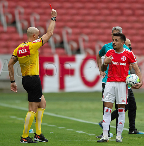 8th November 2020; Beira-Rio Stadium, Porto Alegre, Brazil; Brazilian Serie A, Internacional versus Coritiba; Heitor of Internacional receives the red card and is sent off