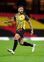 Andre Gray of Watford during the Sky Bet Championship behind closed doors match played without supporters with the town in tier 4 of the government covid-19 restrictions, between Watford and Norwich City at Vicarage Road, Watford, England on 26 December 2020. Photo by Andy Rowland.