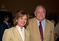 May 8 2003, Montreal, Quebec, Canada<br /> <br /> Lisette Lapointe (L) and her husband Jacques Parizeau, former Quebec Premier and former leader of the Parti Quebecois  (R), attend the opening of  LE PETIT PRINCE musical comedy, based on Antoine de St-Exupery book, may 8 2003 at the St-Denis Theater, in Montreal, CANADA.<br /> <br /> Mandatory Credit: Photo by Pierre Roussel- Images Distribution. (©) Copyright 2003 by Pierre Roussel