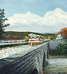 "Keelboat crossing the aqueduct at Alexandria, PA, on the old Pennsylvania Canal in the 1830's. Oil on canvas, 20"" x 22""."