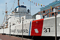 USCGC Taney , Coast Guard cutter  now maritime museum ship, Inner Harbor, Baltimore, Maryland, USA