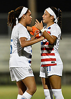Lakewood Ranch, FL - Wednesday, October 10, 2018:   Mia Fishel, Maya Doms during a U-17 USWNT match against Colombia.  The U-17 USWNT defeated Colombia 4-1.