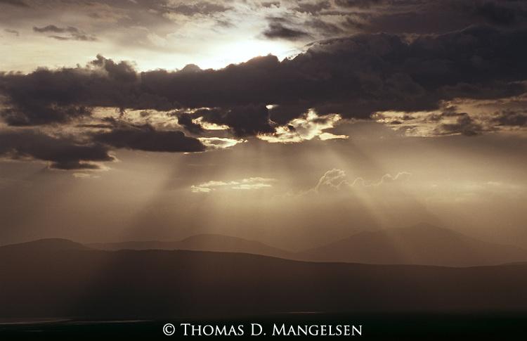 Dramatic skies above Ngorongoro Crater in Tanzania.