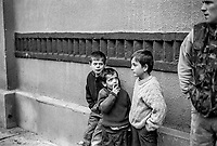 Refugee children and a man wear in a camouflage jacket at the Varazdin refugee camp in the winter of 1992. <br /> <br /> In 1992 while volunteering at the Varazdin refugee camp Panos photographer Bjoern Steinz met and became close to Elvis, a Bosnian Muslim refugee, and his family. They shared the hardships of camp life together which Steinz documented. While the prints were archived for many years two of the images always returned to Bjoern's thoughts. 25 years later he set out to try and find out what had happened to Elvis and his family in the intervening years. Modern social media made the task surprisingly easy and they were reunited in Hadzici where Elvis now lives with his family.
