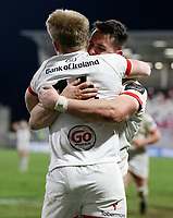 26 February 2021; Rob Lyttle is congratulated by James Hume during the Guinness PRO14 match between Ulster and Ospreys at Kingspan Stadium in Belfast. Photo by John Dickson/Dicksondigital