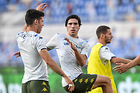 warm up  of Sandro Tonali of Brescia with team made <br /> during the Serie A football match between SS Lazio  and Brescia Calcio at stadio Olimpico in Roma (Italy), July 29th, 2020. Play resumes behind closed doors following the outbreak of the coronavirus disease. <br /> Photo Antonietta Baldassarre / Insidefoto