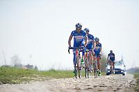 James Vanlandschoot (BEL/Wanty-Groupe Gobert) & teammates over the rough cobbles of the Orchies sector<br /> <br /> 2015 Paris-Roubaix recon