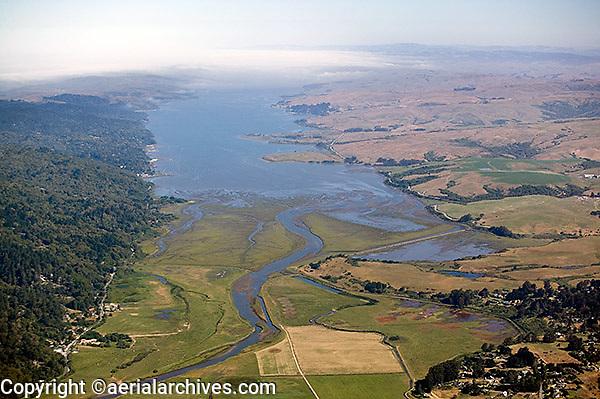 aerial photograph Tomales Bay, Marin County, California