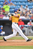 Beer City Tourists right fielder Vince Fernandez (8) swings at a pitch during a game against the Lakewood BlueClaws at McCormick Field on June 1, 2017 in Asheville, North Carolina. The Tourists defeated the BlueClaws 8-5. (Tony Farlow/Four Seam Images)