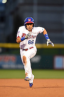 Buffalo Bisons shortstop Munenori Kawasaki (66) runs the bases during a game against the Gwinnett Braves on May 13, 2014 at Coca-Cola Field in Buffalo, New  York.  Gwinnett defeated Buffalo 3-2.  (Mike Janes/Four Seam Images)