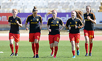 20180228 - LARNACA , CYPRUS :  Belgian Charlotte Tison (left) , Maud Coutereels , Jana Coryn , Davinia Vanmechelen and Silke Vanwynsberghe (r) pictured during warming up of the women's soccer game between The Belgian Red Flames and the Czech Republic , on wednesday 28 February 2018 at GSZ Stadium in Larnaca , Cyprus . This is the first game in group B for Belgium during the Cyprus Womens Cup , a prestigious women soccer tournament as a preparation on the World Cup 2019 qualification duels. PHOTO SPORTPIX.BE   DAVID CATRY