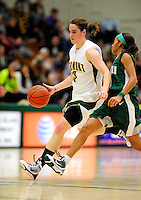 5 December 2009: University of Vermont Catamount guard Courtnay Pilypaitis, a Senior from Ottawa, Ontario, in action against the Manhattan College Jaspers at Patrick Gymnasium in Burlington, Vermont. The Catamounts defeated the visiting Jaspers 78-59 to mark the Lady Cats' second home win of the season. Mandatory Credit: Ed Wolfstein Photo